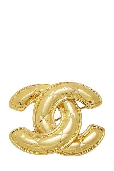 Gold Quilted 'CC' Pin Medium