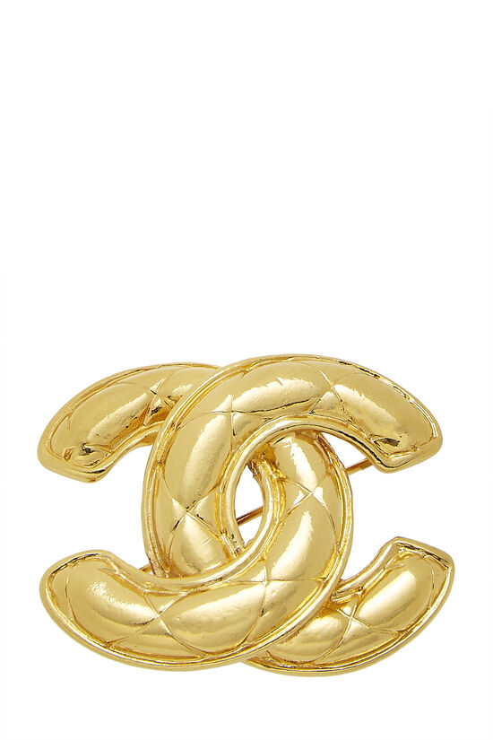 Gold Quilted 'CC' Pin Medium, , large image number 0