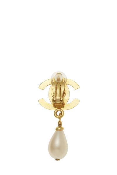 Gold & Faux Pearl 'CC' Turnlock Dangle Earrings, , large