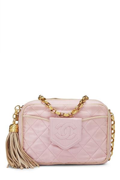 Pink Quilted Satin Pocket Camera Bag Mini
