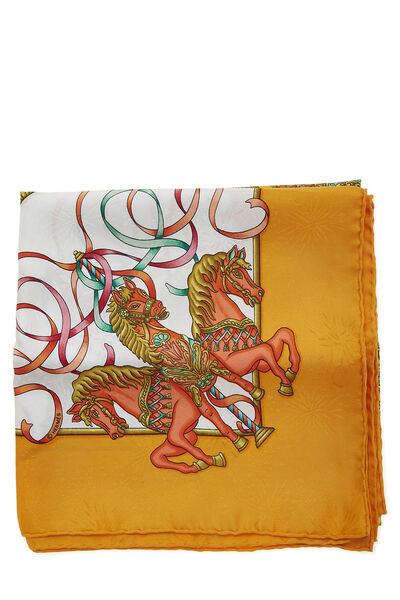 Orange & Multicolor 'Luna Park' Silk Scarf 90, , large