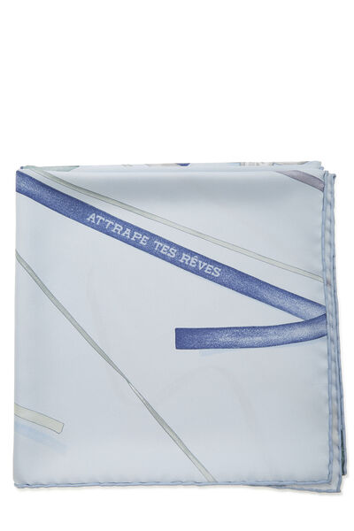 Blue 'Attrape Tes Reves' Silk Scarf 90, , large