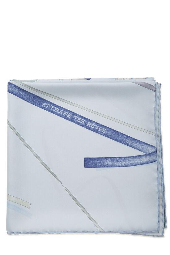 Blue 'Attrape Tes Reves' Silk Scarf 90, , large image number 1