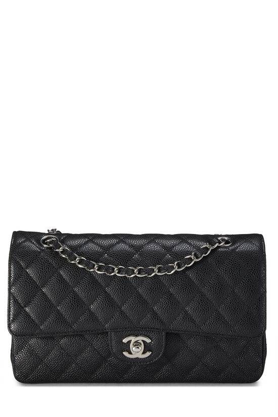 Black Quilted Caviar Classic Double Flap Medium, , large image number 0