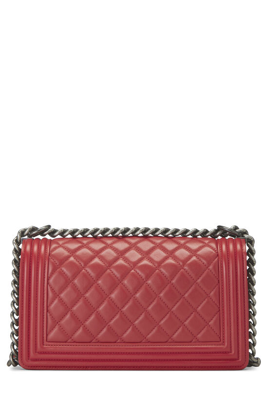 Red Quilted Lambskin Boy Bag Medium, , large image number 4