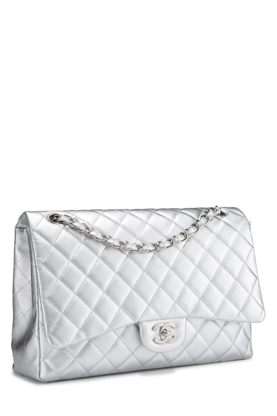 Metallic Silver Quilted Lambskin Classic Flap Maxi, , large image number 1