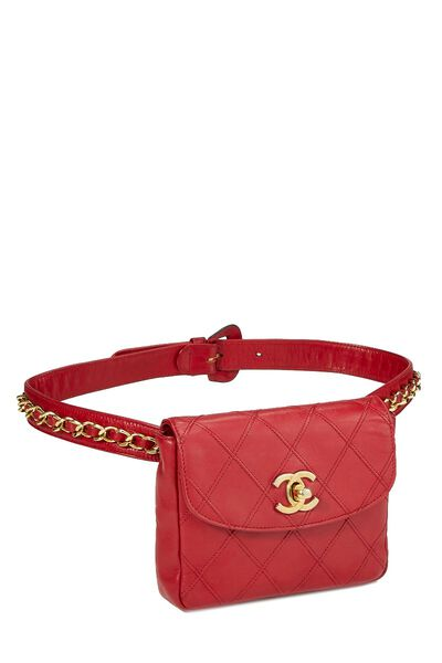 Red Quilted Lambskin Belt Bag, , large