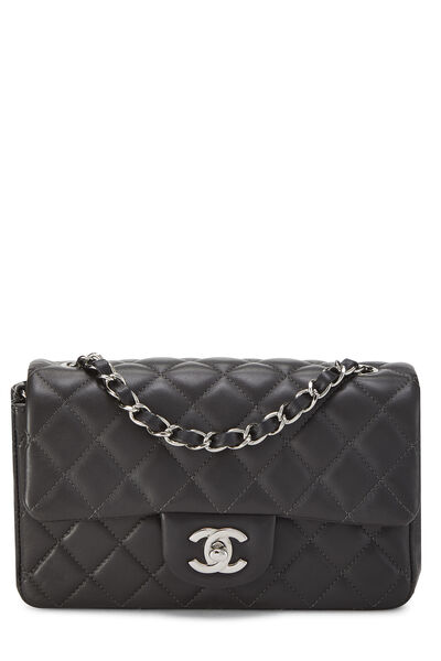 Charcoal Quilted Lambskin Classic Flap Mini