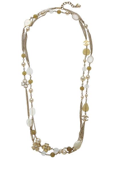 Gold & Faux Pearl Gripoix Necklace Long