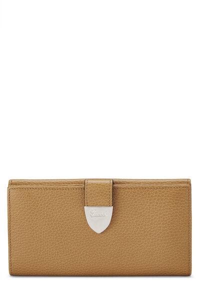 Beige Grained Leather Tab Wallet