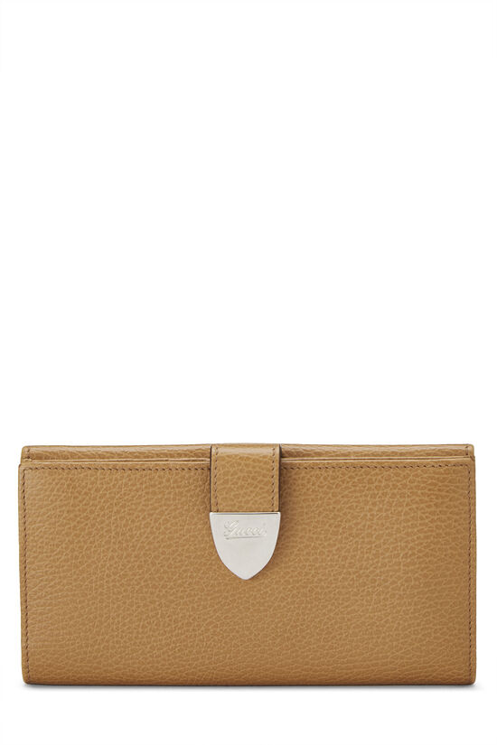 Beige Grained Leather Tab Wallet, , large image number 0