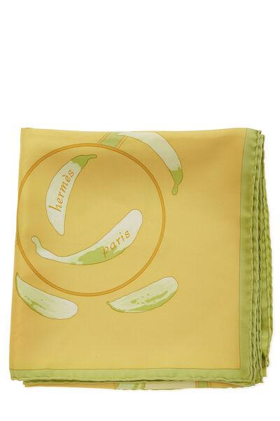 Yellow & Multicolor 'Au Gré du Vent' Silk Scarf 90, , large