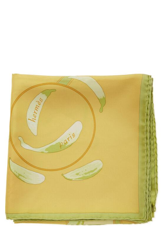 Yellow & Multicolor 'Au Gré du Vent' Silk Scarf 90, , large image number 1
