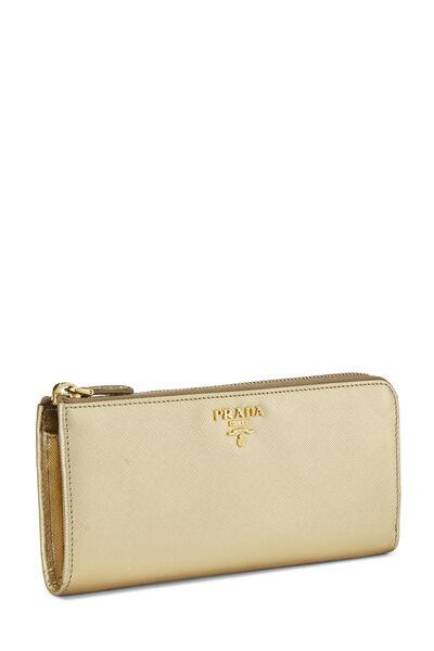 Gold Saffiano Zip Around Wallet, , large