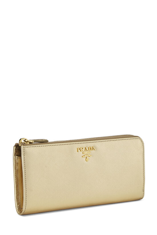 Gold Saffiano Zip Around Wallet, , large image number 1