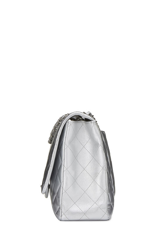 Metallic Silver Quilted Lambskin Classic Flap Maxi, , large image number 2