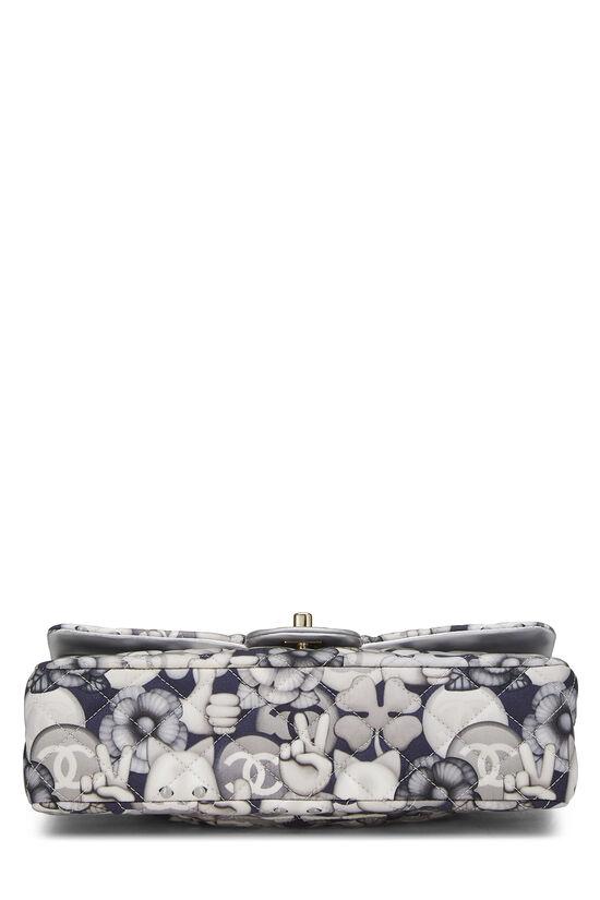 White & Grey Emoticon Nylon Classic Double Flap Medium, , large image number 4