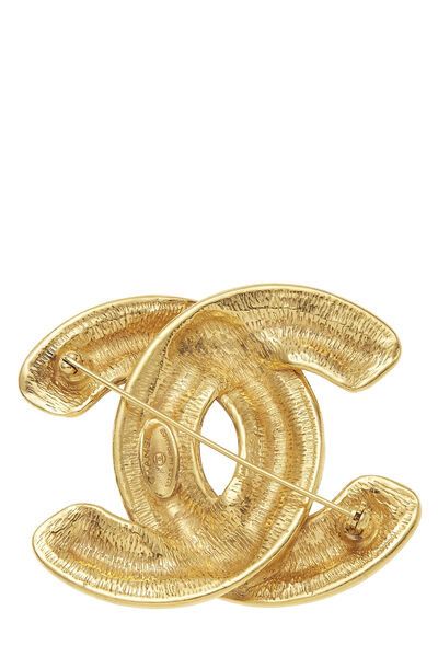 Gold Quilted 'CC' Pin Large, , large