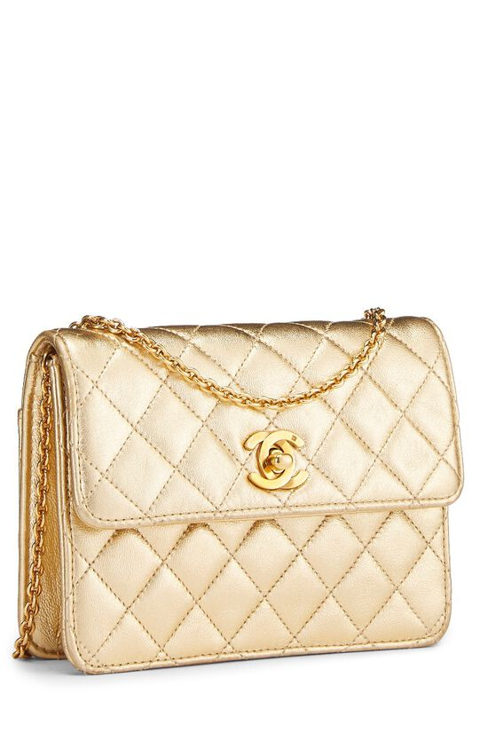 Metallic Gold Quilted Lambskin Half Flap Micro, , large image number 1