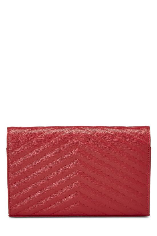 Red Chevron Calfskin Monogram Chain Wallet, , large image number 4