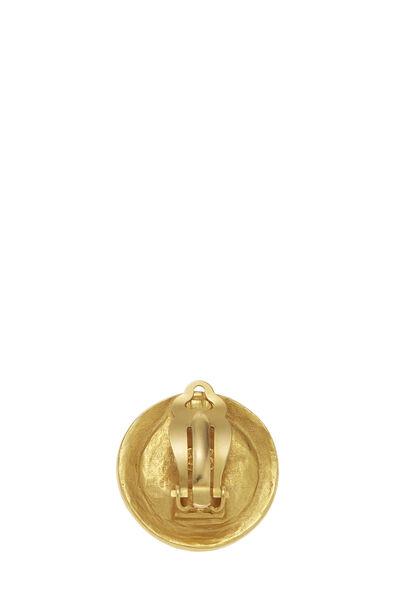 Gold & Black Filigree 'CC' Round Earrings, , large
