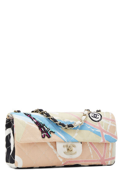 Multicolor Canvas Eiffel Tower Flap Bag Small, , large