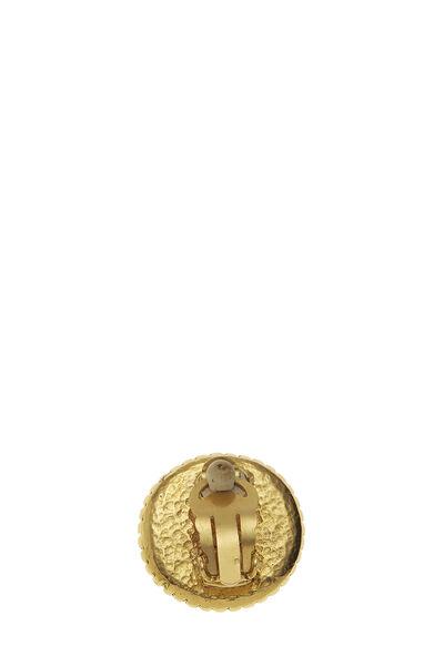 Gold 'CC' Dot Border Earrings, , large