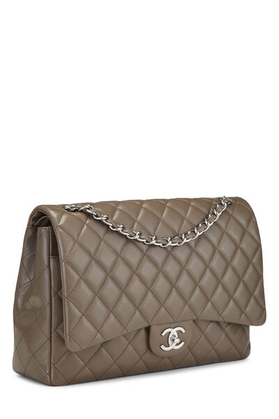 Brown Quilted Caviar New Classic Double Flap Maxi, , large