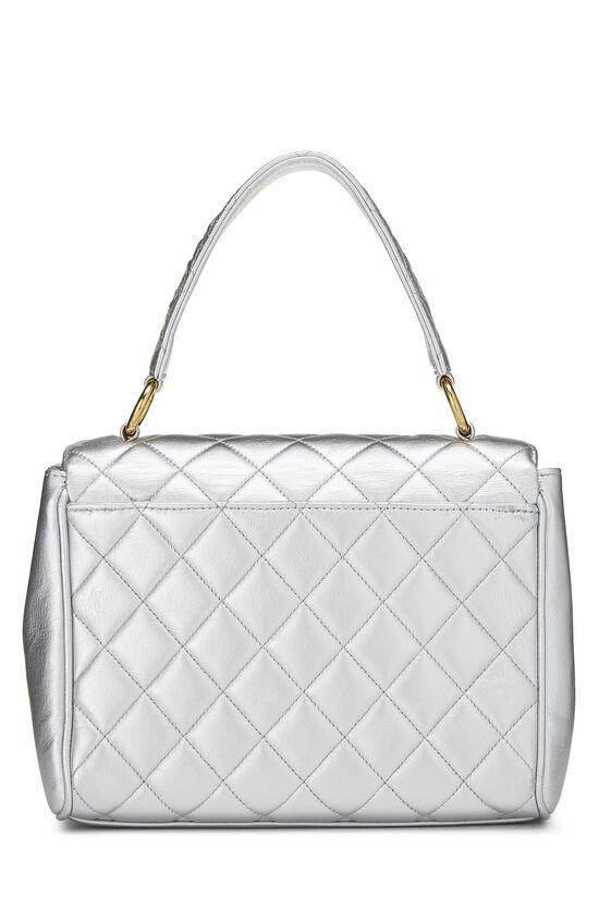 Metallic Silver Lambskin Top Handle Bag, , large image number 3