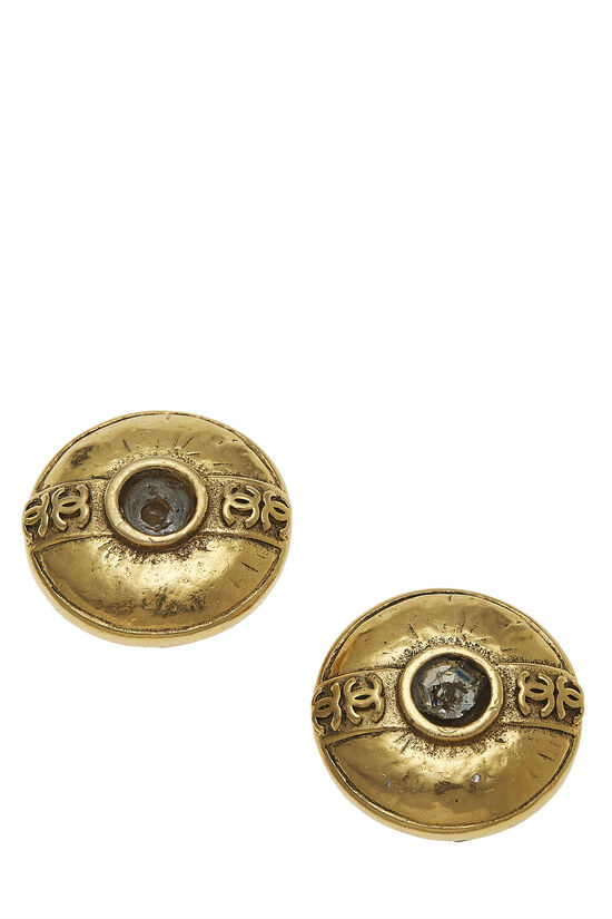 Gold Crystal 'CC' Button Earrings, , large image number 3