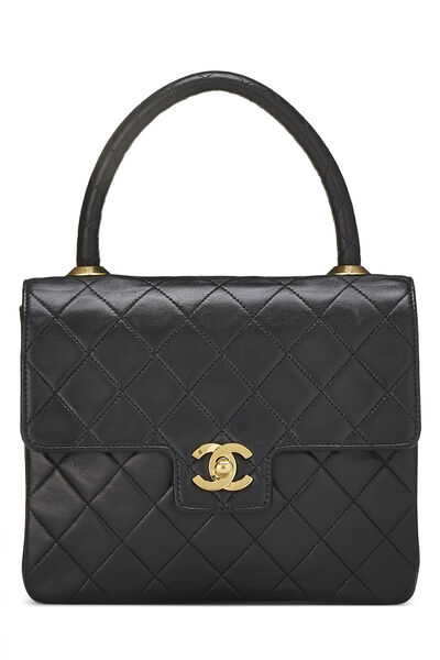 Black Quilted Lambskin Top Handle Tote Mini