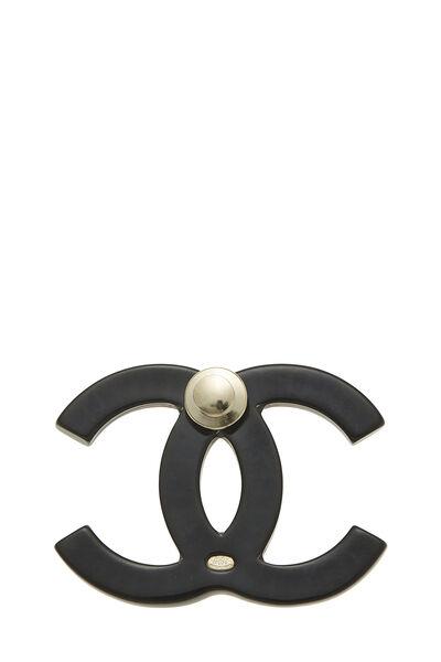 Black Acrylic 'CC' Pin Large, , large