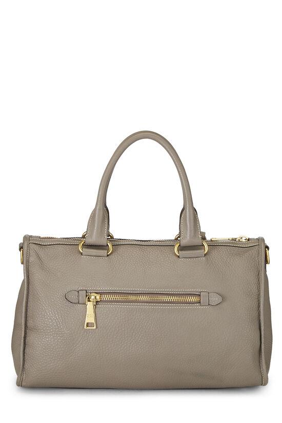Grey Vitello Daino Boston Bag, , large image number 3