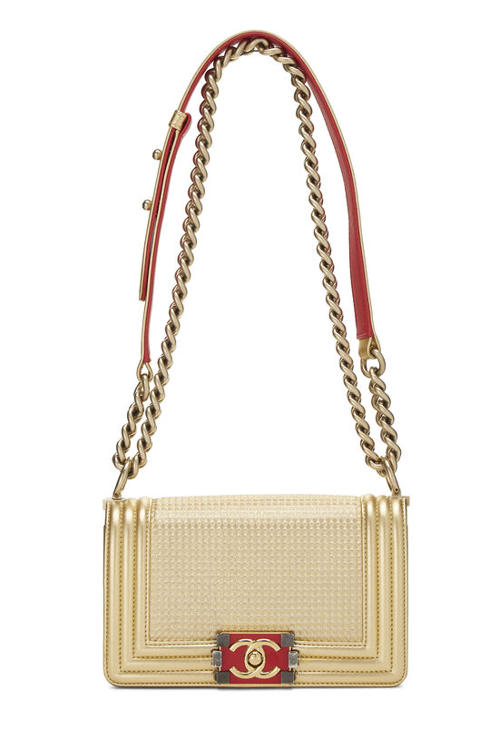 Metallic Gold Quilted Calfskin Boy Bag Small, , large image number 1