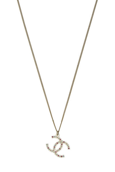 Gold & Pink Crystal 'CC' Necklace, , large