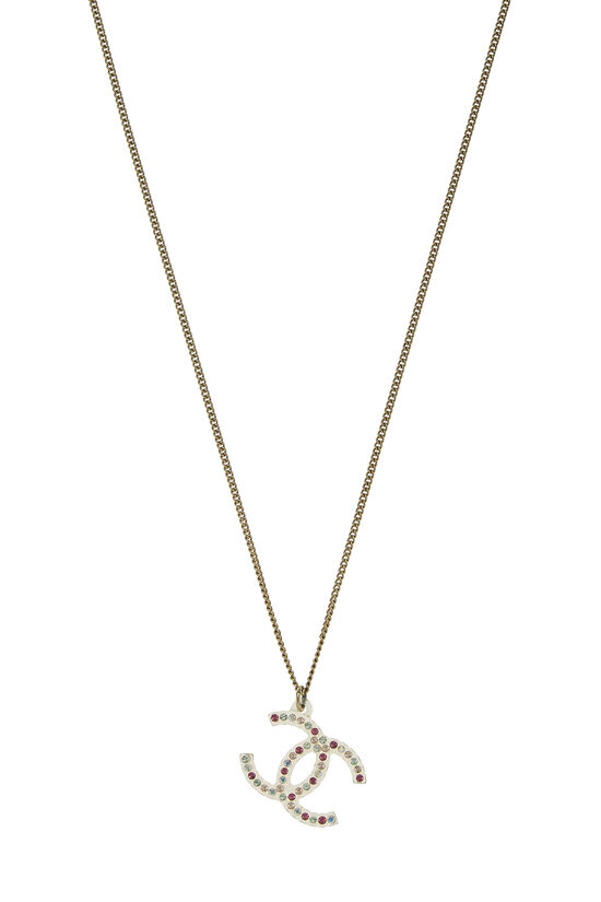 Gold & Pink Crystal 'CC' Necklace, , large image number 1