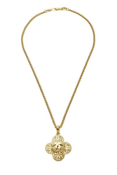 Gold 'CC' Fretwork Necklace