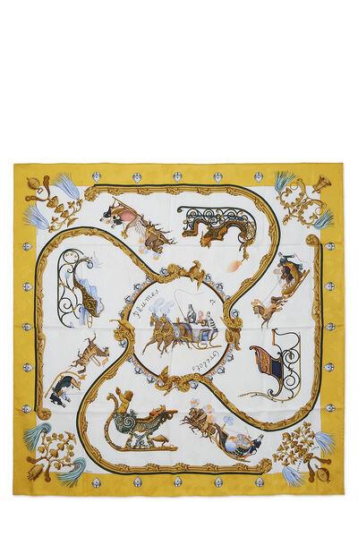 Yellow & Multicolor 'Plumes et Grelots' Silk Scarf 90