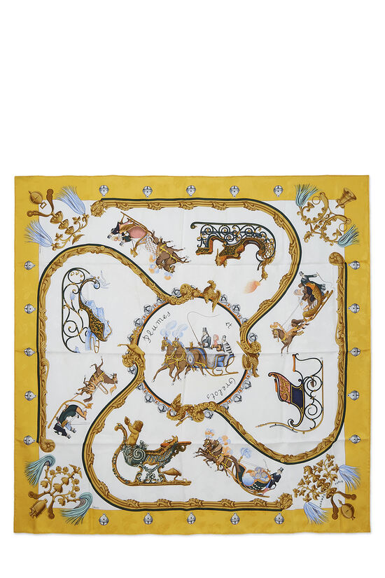 Yellow & Multicolor 'Plumes et Grelots' Silk Scarf 90, , large image number 0