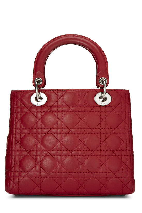 Red Cannage Quilted Lambskin Lady Dior Medium, , large image number 3