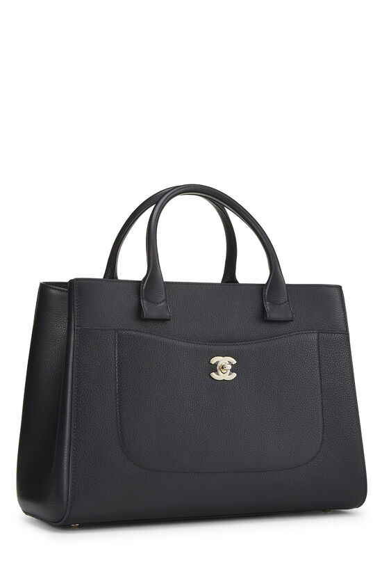 Black Leather Neo Executive Shopping Tote, , large image number 2