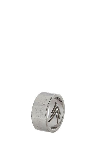 Silver 'Volez Voguez Voyagez' Ring Medium, , large