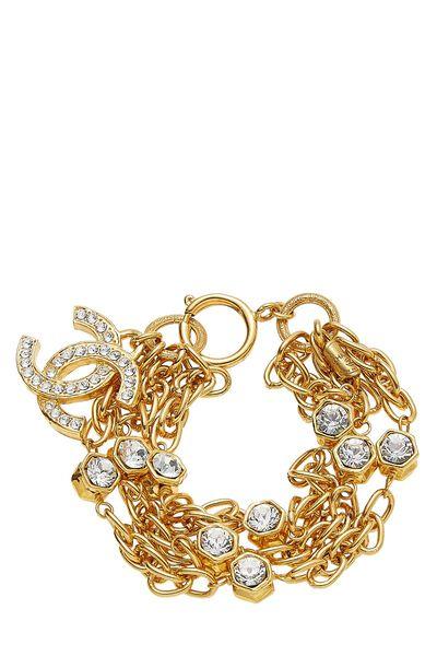 Gold & Crystal 'CC' Chain Bracelet