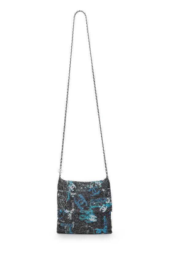 Grey & Blue Graffiti Rhinestone Chain Mail Bag, , large image number 6