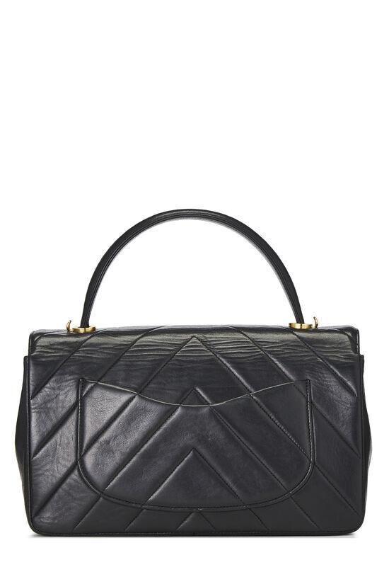 Black Chevron Lambskin Top Handle Bag, , large image number 3
