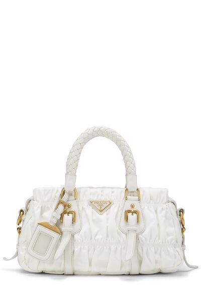 White Tessuto Gaufre Shoulder Bag Small