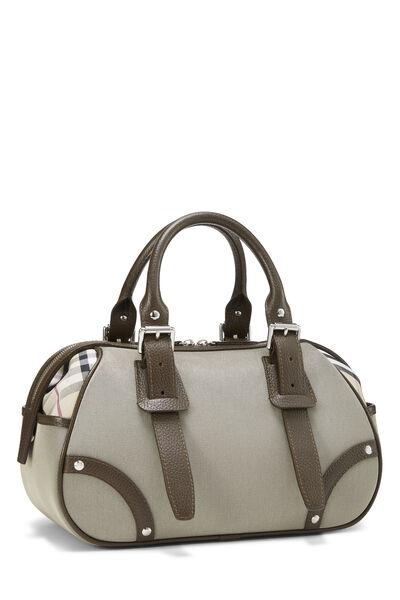 Taupe Nylon Check Bowling Bag, , large