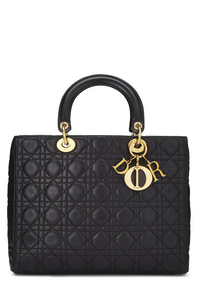 Black Cannage Quilted Lambskin Lady Dior Large