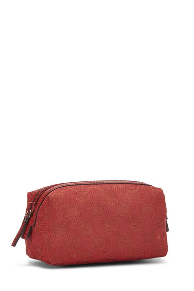 Red GG Canvas Cosmetic Pouch Small, , large