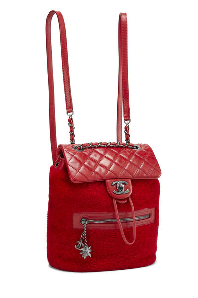 Red Quilted Calfskin & Faux Shearling Mountain Backpack, , large
